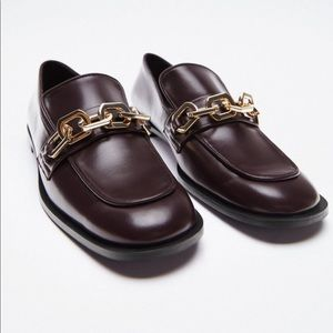 Zara Brown chain loafers